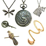 Game Of Thrones 6 piece Gift Pack. Watch Necklace, Bracelet and Brooches