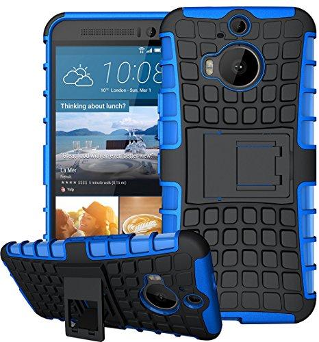 HTC One M9 Plus / M9+ Hülle Nnopbeclik Hybrid 2in1 TPU+PC Schutzhülle Cover Case Silikon Rüstung Armor Dual Layer Muster Handytasche Backcover 360-Grad-Drehung ständer stoßfest Handy Hülle Tasche Schutz Etui Schale Bumper Pour HTC One M9 Plus / M9+ 5.2 Zoll [Schwarz+Blau]
