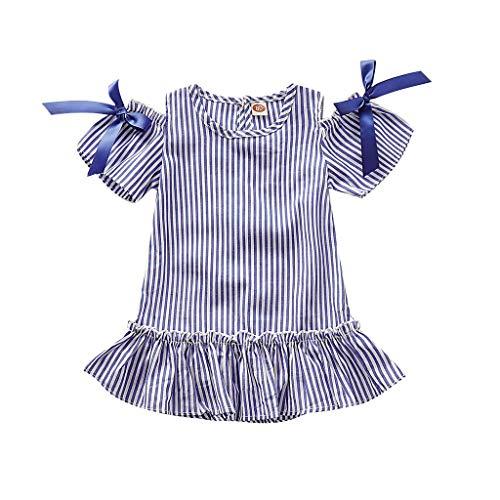 Koojawind Kleinkind Kind Baby Schulterfrei Gestreift Gedruckt Party Prinzessin Kleid Kleidung, Schulter RüSchen üBerbacken Saum Bluse Top Rock, 1Y-4Y -