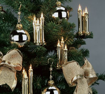 Triaden Lichterkette 48 Kerzen gold-metallic von Hellum auf Lampenhans.de