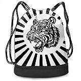 MLNHY White Black Tiger Multifunctiona Drawstring Sport Backpack Foldable Sackpack