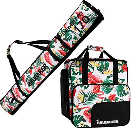 Brubaker Kombi Set CarverSpotlight - Skisack und Skischuhtasche für 1 Paar Ski + Stöcke + Schuhe + Helm - Flamingos - 170 cm -