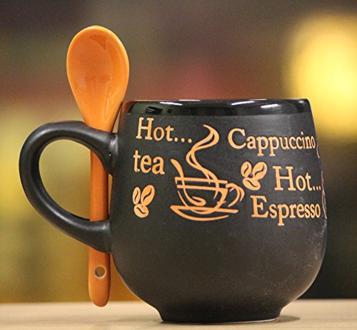 Cappuccino Round Coffee Mug (300 ml) with Spoon - Black & Orange