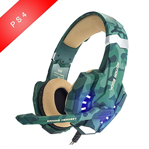 Gaming Headsets, EasySMX LED-Beleuchtung Noise Cancellation Stereo Gaming Headset mit Mikrofon 3,5mm und In-line-Controller, Kompatibel mit Neue Xbox one, PS4, Mobile Phones, Laptop Tablet und PC