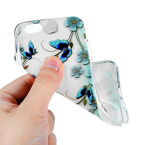 MAXFE.CO TPU Silikon Hülle für iPhone 6 Handyhülle Schale Etui Protective Case Cover Rück mit Kügelchen Skin TPU Kantenschutz Gemalt Design Schutzhülle Blumen Schmetterling