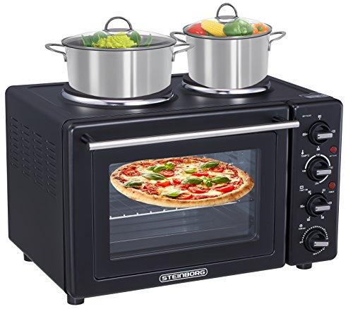 9 in 1 Backofen | Mini Backofen | Pizzaofen | Minibackofen | Backofen mit Umluft | Freistehender Backofen | 35 Liter | Auftaufunktion | Grillfunktion | Back-Funktion | Toast-Funktion | Konvektionsfunktion | Rotisseriefunktion | Temperaturregelung 100-250°C | zuschaltbare Umluft | 2 Kochplatten | 60 min.Timer | 3100 Watt | Farbe: Schwarz |