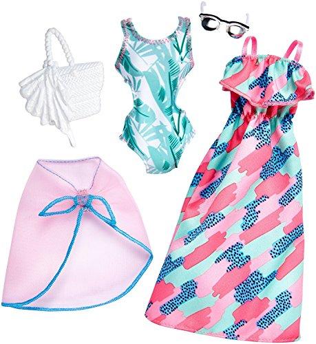 Original Mattel Barbie Kleider, Mode Set, inkl. Zubehör wie Schuhe, Handtasche, Schmuck oder Accesoires (FKT32 - 2-er Pack Moden, Sommerkleid, Badeanzug mit Bolero, Tasche und Sonnenbrille)