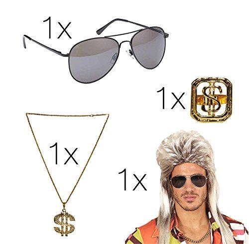 Fasching Karneval Kostüm Set Erwachsene Vokuhila Assi Perücke 80er 90er Jahre Kleidung Kostüm mit Brille Pilotenbrille Goldkette Ring gold Dollar