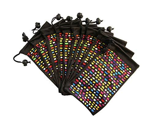 Mikrofaser Brillenputztuch Tasche - Mikrofaserbeutel fur Brille, Sonnenbrille, Kamera Objektiv mit Kordelzug. Brillen Leicht Finden, Reinigen und Stilvoll Aufbewahren.10 * Regenbogen auf Schwarz - Regenbogen-kamera-objektiv