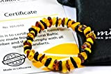 Braccialetto ambra Naturale - Massima Qualità Certificata Vera Ambra del Baltico / Lunghezza 14 cm. / 100 Giorni Garanzia di Rimborso