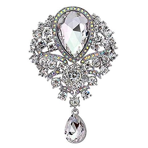 SANWOOD womem's Wedding Bridal Bouquet Clear Crystal Rhinestone Teardrop Dangle Brooch Pin (Silver)