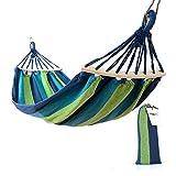 Easy Eagle Amaca da Giardino per 1 Persona | Massima Capacità di Carico 300 kg (200 x 100 cm) | con Barre per la Diffusione | Amache di Cotone per Esterno Interno Campeggio Viaggio - Blu