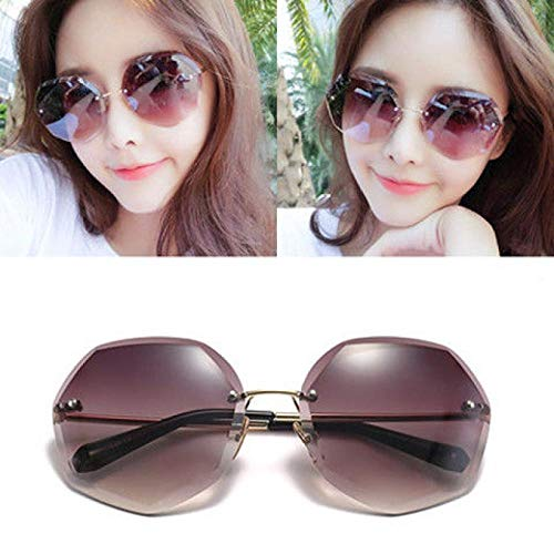 Sommer rahmenlose Sonnenbrille weiblichen koreanischen Version der Schnittkante Gradienten transparent Ozean Stück Mode (senden Spiegel Tasche Spiegel Tuch kleine Geschenke), Kaffeescheibe _ vierteil