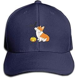 fboylovefor Kawaii Halloween Corgi Adjustable Baseball Caps Unstructured Dad Hat 100% Cotton Ash