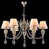 Eleganter art deco Kronleuchter, 6-flammig, bronzefarbiges Metall, beige Textilschirme, Glas und Kristall Farbe Champagne, exkl. E14 40W 220V-240V