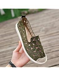 YOPAIYA Alpargatas Zapatos De Pescador Pisos De Mujer Verde Hueco hacia Fuera Mocasines Zapatos De Verano