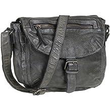 35f12545198b5 Bear Design Handtasche Damen Tasche Leder Schultertasche Cow Lavato grau