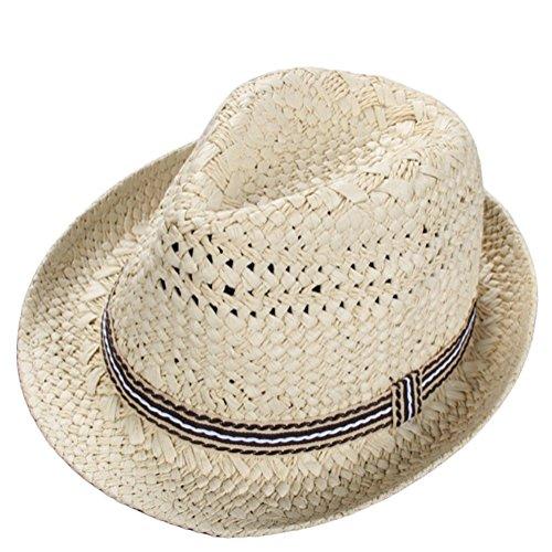 Kentop Panamahut Kinder Fedora Hut Junge Panama Sonnenhut Faltbarer Strohhut Trilby Hut (Beige)