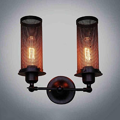 HDZWW Vintage Wandleuchten verstellbare industrielle Edison Wandleuchten Retro Wand Schlafzimmer Treppen Spiegel Lampen E27 Base hohe Helligkeit Doppelkopf Eisen Wandleuchte -