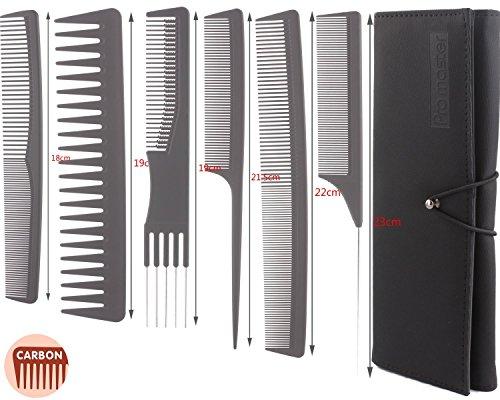 Set 6 pezzi pettini professionali da parrucchiere, stylist capelli, barbiere, in carbone