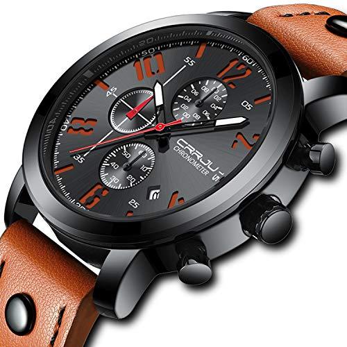Herren-Armbanduhren Sport Militär Quarz Analog Wasserdicht Chronograph Lederband Orange