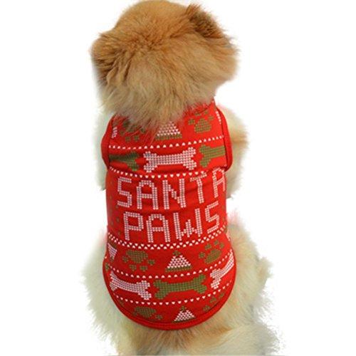 Kleid Knochen Tank (Weihnachtsnettes Hunde Haustier Weste, Hmeng Knochen Muster Hund Kapuzenpulli Sankt Haustier Kleidung Baumwollwelpen T-Shirt (M,)