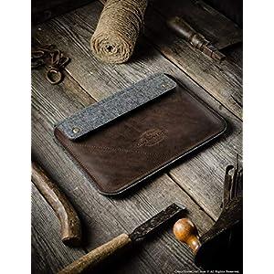 iPad Pro 12.9 inch, iPad 10.2 Ledertasche | Wood Brown, iPad Pro 11 Zoll Hülle, 100% Wollfilz, Apfel stift, Vintage Crazy Horse Leder, Tablettständer, 2019 iPad Air 10.5 Zoll Cover, Crazy Horse Craft