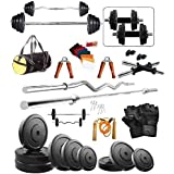 Bodyfit 20Kg Weight Plates,5Ft Rod,3Ft Curl Rod,2D.Rods Home Gym Dumbell Set.