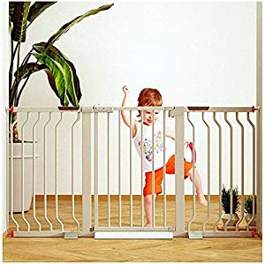 MOM Pet Playpens Door,Child Pet Safety Gates,Garden Fence Dual Lock Self Closing Dog Isolation Door,Rail Guards Extra Wide Stairs Guardrail Gate,White,W 355-362cm   4