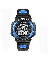 Relojes Impermeables para Niños, LILICAT Relojes del cuarzo del muchacho Digital LED, Fecha de alarma Relojes Deportivos (Azul)