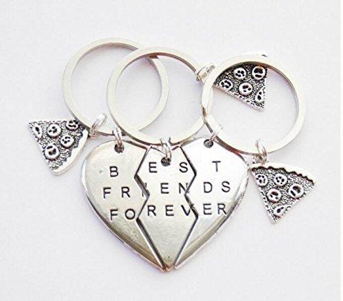 3BFF llavero Pizza Slice llavero 3amistad clave anillos regalos 3BFF mejores amigos para siempre Clave Anillos llavero corazón Puzzle llaveros