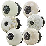 Möbelknopf Möbelknauf Möbelgriff 6er Set Nr.5 351 Farbe weiß beige Keramik Porzellan handbemalte Vintage Möbelknöpfe für Schrank, Schublade, Kommode, Tür - Jay Knopf