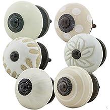Perillas Tiradores de Muebles conjunto surtido 6 piezas No.5 351 Multicolor blanco beige Perilla de los muebles, un armario, cajón, gabinete, manijas, porcelana - Jay Knopf