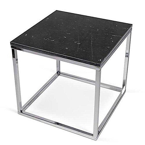 PRAIRIE, table basse ou table d'appoint, en placage de bois ou marbre, de jolies réalisations, bien dans l'air du temps ! - designer : INÊS MARTINHO - table d'appoint carrée, 50 x 50 x 50 cm - Marbre noir (marquina noir, 2 cm), pieds chromés