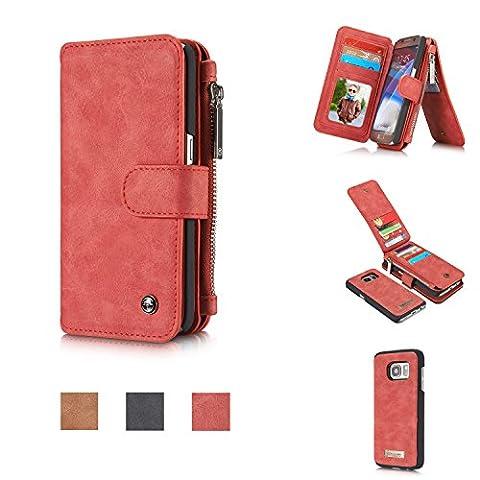 CaseMe® Étui portefeuille en cuir véritable pour Samsung S7 avec