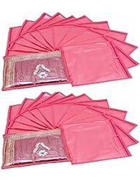 Fashion Bizz Pink Non Woven Saree Bags Set Of 24 Pcs