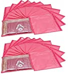 Fashion Bizz Plastic Non Woven Saree Bags (Pink) - Set of 24