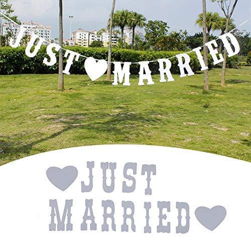 pelkette JUST MARRIED Banner Wimpel Hessischen Für Draußen Hochzeit, Hochzeits-Girlande Dekoration Für Hochzeit Fest Oder Foto Photo Booth Fotografie ()