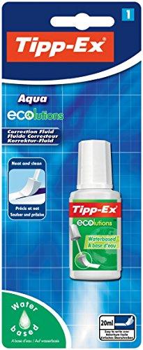 Tipp-Ex Korrekturfluid ECOlutions Aqua, auf Wasserbasis, Flasche 20 ml, Blister à 1 Stück, weiß