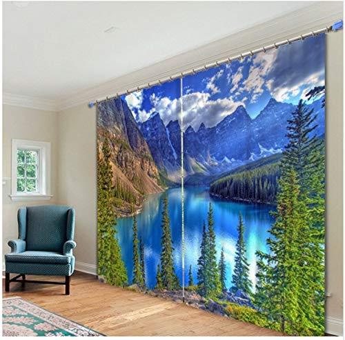 Ten-tailed fox Dschungel Landschaft See Bilder 3D Blackout Vorhänge Für Wohnzimmer Bettwäsche Zimmer Home Decor Tapisserie Wand Teppich Vorhänge Cotinas H210 * W340 cm