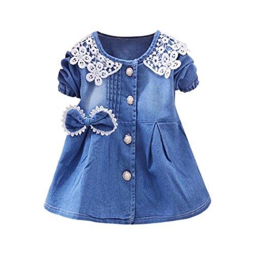 Longra Baby Sommerkleider Mädchen Kleider Jeanskleider mit Bowknot Mädchen Spitze Kleider Denim Kleider Prinzessin Kleider Festliche Babymode Mädchen Kleidung (Blue, 70CM 6Monate)