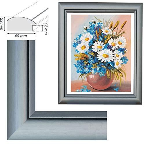 RAABEC Bilderrahmen für Bilder der Größe 40x50cm, Farbe Grau, ideal für Malen nach Zahlen Bilder der Größe 40x50cm z.B. von Schipper (ohne Glas)