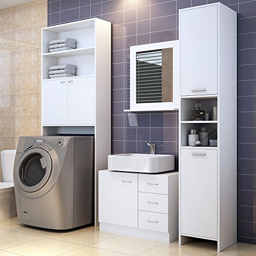 #Badmöbel Set | Waschbeckenunterschrank | Badezimmerhochschrank | Waschmaschinenschrank | Farbe: weiß#
