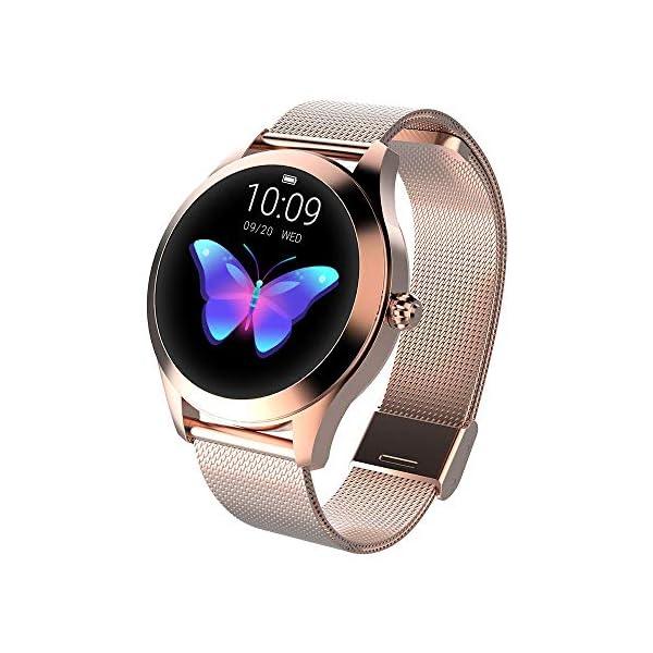 FBLWT Smartwatches Reloj Inteligente para Mujer Kw10 Color Ip68 Señoras Rastreador De Fitness Pantalla Táctil Redonda 10