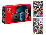 Nintendo Switch Consola 32Gb Azul/Rojo Neón + Mario Kart 8 Deluxe + Splatoon 2