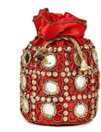 YOTOVA Ethnic Traditional Rajasthani Embroidered Women Silk Potli Batwa Gift Pouch Bag with Metal Beadwork Gift For Women Ladies Bridal Clutch Purse for Party Wedding Gift Bags for Return Gifts