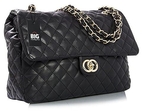 Big Handbag Shop Womens Quilted Twist Lock Shoulder Bag (Black - Round Clasp)