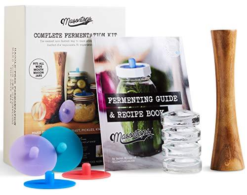 Masontops vollständiges Einweckglas-Fermentierungsset - Einfaches Weitmund-Einmachglas Fermentierungsset - DIY Ausrüstung