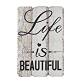 NIKKY HOME Life is Beautiful Holz Wand Deko Schild 20 x 1,6 x 30,1 cm
