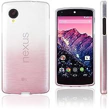 Xcessor Transition de Color Funda Carcasa Para LG Nexus 5. Flexible TPU Gel Con Gradient Hilo De Seda Textura. Transparente / Rosa